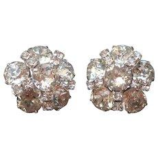 Kramer Earrings Cluster Rhinestones Silver Tone Metal Clip