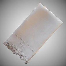 1920s Italian Towel Reticella Lace Monogram C.B.L. Vintage Linen