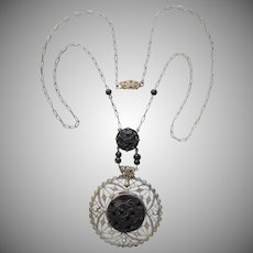 1920s Necklace Black Glass Filigree Faux Seed Pearls Vintage