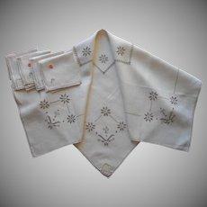 1920s Italian Work Tea Tablecloth Napkins Set Vintage Unused Linen Labels