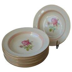 Moss Rose Pink Band 10 Rimmed Soup Bowls Homer Laughlin Eggshell Nautilus