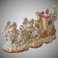 Large Figurine Coach Carriage Horses Footmen Cinderalla Vintage Hand Painted China