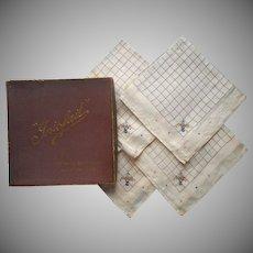 1910s Hankies 4 Antique Linen Original Box Hand Embroidery