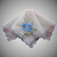 Nylon Hankie Vintage Sheer Blue Flower Embroidery
