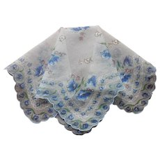 Nylon Hankie Vintage Sheer Blue White Floral Print Handkerchief