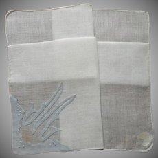 Monogram M Hankie Madeira Original Labels Vintage Linen Appliqued