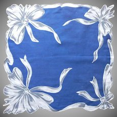 Vintage Hankie Printed Cotton Navy Blue w Gray Bows Print