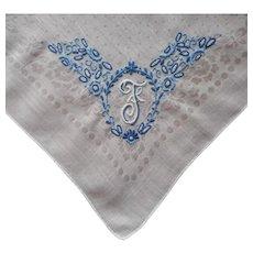 Monogram F Madeira Hankie Vintage Hand Embroidered Blue On White