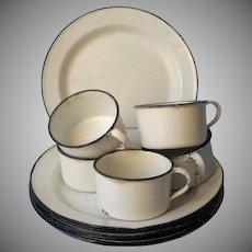 Enamelware 7 Plates 5 Cups Vintage Camping Enamel Ware White Black