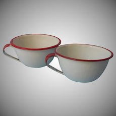 Enamelware 2 Coffee Cups Red White Vintage Enamel Ware Camping