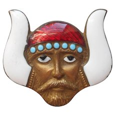 Enamel Viking Head Masonic Sew On Badge Vintage to Antique