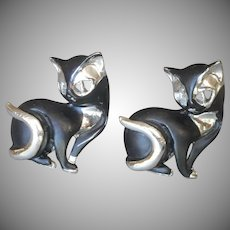 Cat Cufflinks Vintage 1960s Oversized Figural Black Silver Tone Metal