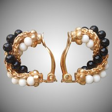 Ciner Earrings Clip Faux Black and White Coral Gold Tone Twist Hoop