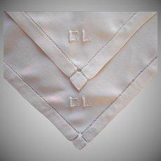Monogram C. L. Pair Tray Cloths Vintage Linen ca 1920 Tray Cloth