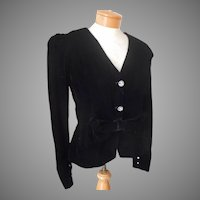 1980s Velvet Evening Jacket Fitted Vintage Bow At Waist 8