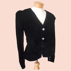 accbeefd08 1980s Velvet Evening Jacket Fitted Vintage Bow At Waist 8