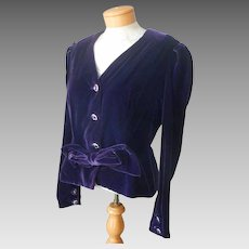 1980s Velvet Evening Jacket Purple Fitted Vintage Bow At Waist 10