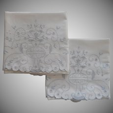 1920s Pillowcases Hand Embroidered Vintage Pale Blue On White 1 TLC