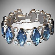 1950s Bracelet Vintage Wide Blue Glass Stones Rhinestones Silver Tone