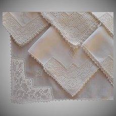 Monogram P. M. Antique Breakfast Tea Napkins Linen Lace Set 9