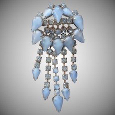 1950s Pin Blue Moonstone Glass Stones Rhinestones Vintage Waterfall Cascade