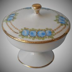 Nippon Ring Dish Pedestal Lid Blue Roses Antique Hand Painted China