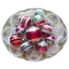 Shiny Brite Vintage Glass Christmas Tree Ornaments 9 Striped Stripes