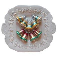Shiny Brite Vintage Glass Christmas Tree Ornaments 9 Small Bells