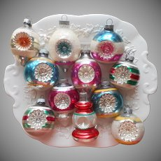Shiny Brite Etc Vintage Glass Christmas Tree Ornaments 11 Indents Indented