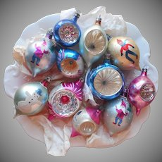 Vintage Poland Vintage Glass Christmas Tree Ornaments 11 Indents Teardrop