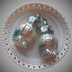 Vintage 1980s Glass Owl Ornaments Christmas Tree Christborn Blue Silver