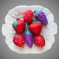 1980s Glass Christmas Tree Ornaments Vintage Fruit Grapes Strawberry Apple