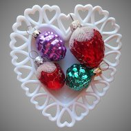 West Germany Vintage Glass Christmas Tree Ornaments 4 Figural Fruit