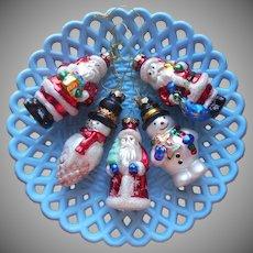 1980s Glass Christmas Tree Ornaments 3 Santa 2 Snowman