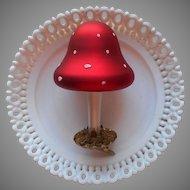 Vintage Mushroom Large Glass Ornament Clip Moss Christmas Tree