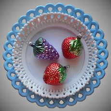 1980s Glass Christmas Tree Ornaments Vintage Figural Fruit Columbia