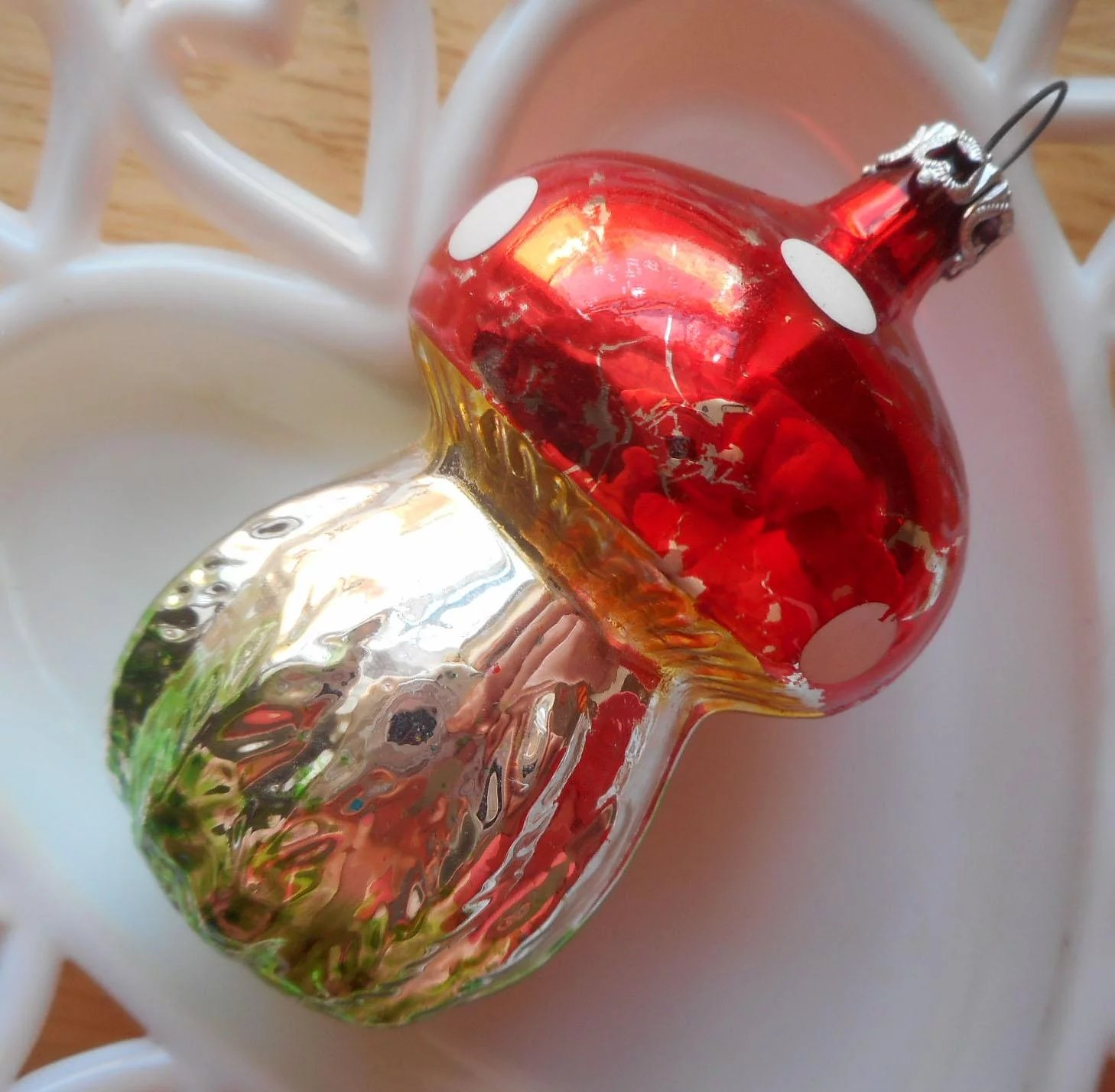 Columbia Christmas Tree: Vintage Glass Mushroom Christmas Tree Ornament 1980s