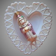 1980s Glass Christmas Tree Ornament Vintage Pink Santa With Hands In Muff