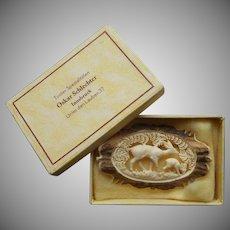 Tyrol Carved Antler Pin Original Box Deer In Woods Vintage 1930s to 50s