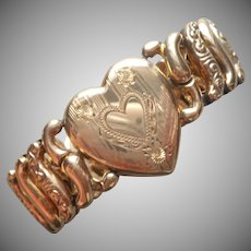 Sweetheart Bracelet Vintage Heart Expansion 1940s Gold Over Sterling American Queen