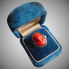 1930s Victorian Revival Sterling Silver Ring Faux Coral Cameo Vintage 3.5 or 4