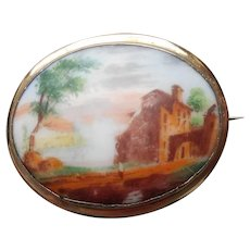 Antique Victorian Hand Painted Porcelain Pin Grand Tour Italian Countryside