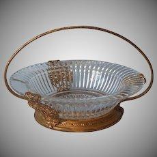 Heisey Ridegleigh Bonbon Glass Basket Filigree Frame Vintage 1930s