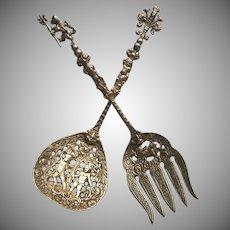 Ugo Bellini Vintage Italy Ornate Cast Metal Servers Serving Spoon Fork Putti Cherubs