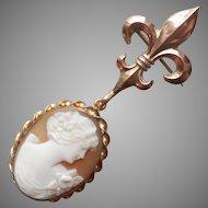 Antique Chatelette Watch Pin Fleur de Lis Vintage Shell Cameo Pendant