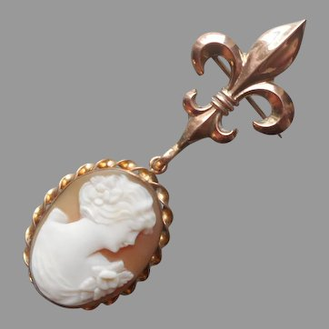 Cameo on Chatelette Watch Pin Fleur de Lis Vintage Pendant