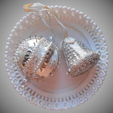 Vintage Christmas Ornaments Beads Sequins Silver White 2