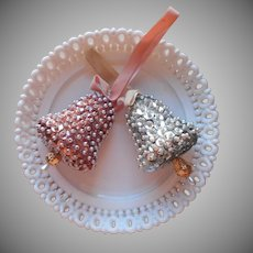 Vintage Christmas Ornaments Pearl Beads Sequins Pink Silver 2