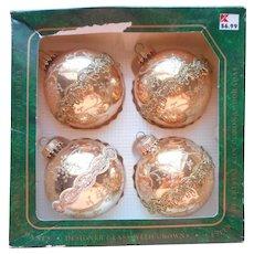 Krebs Vintage Gold Glitter Stenciling Trim Christmas Ornaments Glass Original Box