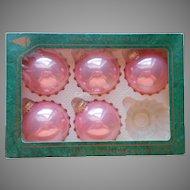 Krebs Candy Rose Pink Glass Vintage Christmas Tree Ornaments